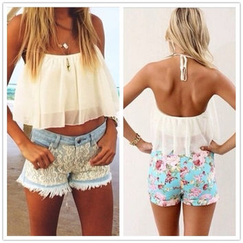 Feelingirl White Slotted Bra Spring Summer Chiffon Halter Vest Women Blouse Crop Tops = 1697128196