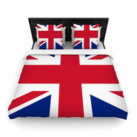 """Bruce Stanfield """"Classic Union Jack"""" Blue Red Woven Duvet Cover"""