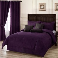Chezmoi Collection 7-Piece Purple Microsuede Comforter Set with Crocodile Embossed Cushions, California King