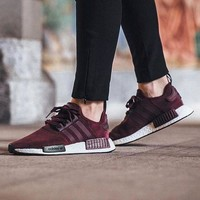 DCC3W Adidas NMD R1 Suede Maroon S75231 Boost Sport Running Shoes Classic Casual Shoes Sneakers