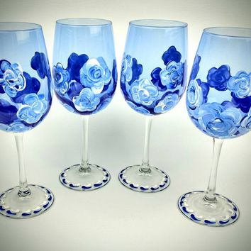 4 Blue Flower stemmed Wine Glasses, Hand Painted wine glass, blue wine glasses, set of four, decorated wine glass, hand painted wine glasses