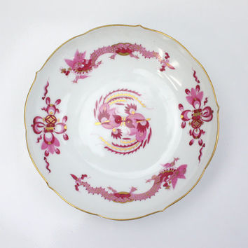 Meissen Dragon Bowl / Pink with Gold Accents / Formal China