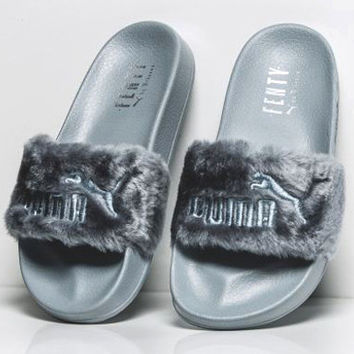 Trendsetter Puma X Rihanna Leadcat Fenty Women Men Lover Fur Slipper Shoes daad35368