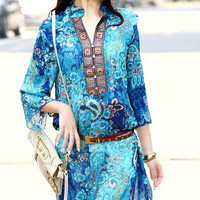 Floral Print Long Sleeve V-Neck Chiffon Tunic Top