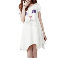 Amazon.com: Allegra K Ladies Cat Head Patterned High Low Hem Stretchy Loose Mini Dress White XS: Clothing
