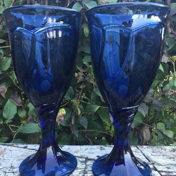 2 Vintage Noritake Crystal Sweet Swirl BLUE wine goblets glasses, wedding toasting glasses, midnight blue crystal goblets, chic glassware
