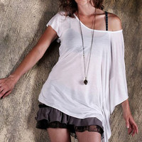 Off the Shoulder Top - White T Shirt -  Classic White T - Asymmetric Top - Draped Top