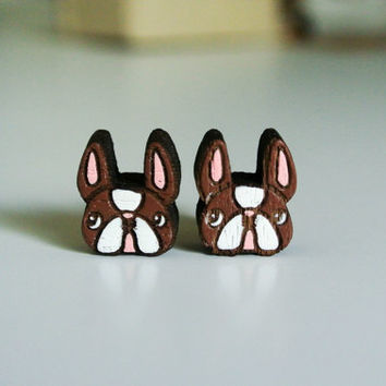 Cute Wood Earrings Hand Painting in Dog Face Shape, Wooden Puppy Ear studs, mini 1 cm. Real Wood ear studs , 100 % Hand Painted Wood earing