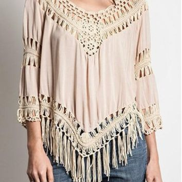 Cut Out V Neck Blouse With Tassel