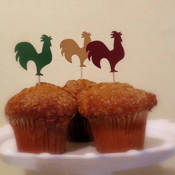 Rooster cupcake toppers in rustic colors, tea party decorations, country style food picks, muffin decorations, barn wedding decor