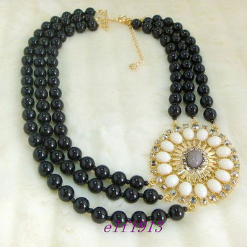J. Crew Style Inspired Black Flower Bubble  Necklace ,Statement Necklace,bridesmaid gifts, bib necklace/ bib Statement necklace/