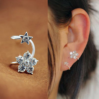 Flower and Star Rhinestone Ear Cuff (Single, No Piercing)