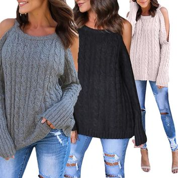 Newest Cold Shoulder Soild Knitted Long Sleeve T-shirt Ladies clothes Girls Pullovers Sweaters Off The Shoulder Tops for Women
