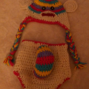 Crochet sock monkey hat and diaper cover set - Custom crochet baby outfit - Newborn custom crochet sock monkey outfit