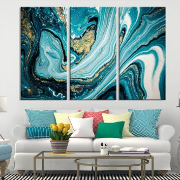 74485 - Turquoise Abstract Painting Canvas Print | Turquoise Marble Canvas Print | Large Marble Art Print