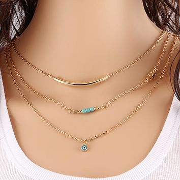 Eye Pendant Necklaces MultiLayer Gold Color Hamsa Hand Link Chain Blue Beads Charm Statement Clavicle Choke Women Jewelry