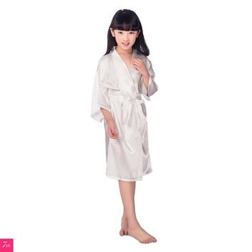 Kids Flower Girl Wedding Stain Robe NightGown Monogrammed Silk children's bathrobe Bridesmaid party robes Kimono