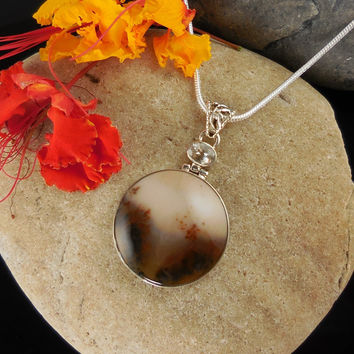 Dendritic Agate & White Topaz Sterling Silver Pendant/Necklace