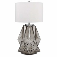 """Catalina Lighting 20903-001 Contemporary Shark Grey Faceted Glass and Metal Table Lamp with Chrome Accents, Linen Shade and 3-Way Switch, Bulb Included 33.25"""", Purple"""