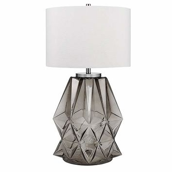 "Catalina Lighting 20903-001 Contemporary Shark Grey Faceted Glass and Metal Table Lamp with Chrome Accents, Linen Shade and 3-Way Switch, Bulb Included 33.25"", Purple"