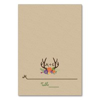 Antlers & orange purple flowers wedding place card table card