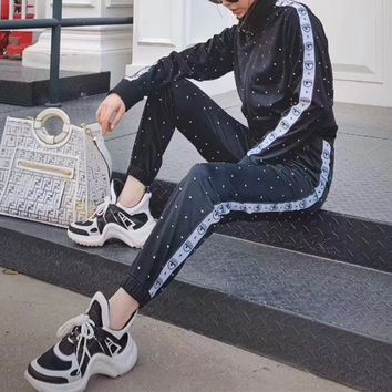 """""""Boom Boom"""" Women Cardigan Jacket Eye Coat Baseball Clothes Sweatpants Couple Thickened Leisure Pants Trousers Set Two-piece"""
