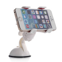 Newest Hot 360 Degrees Car Mobile Phone Holder Dashboard Mobile Mount Car Kit Double Clips Holder GPS Car Mount 1 Pieces