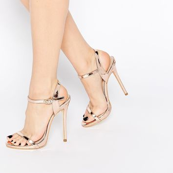 Public Desire Sparra Gold Barely There Heeled Sandals