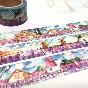 windmill washi tape 10M x 3cm holland windmill village scenes masking tape wind turbine windmill landscape sticker tape purple scenes decor