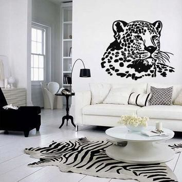 wall decal vinyl art decor sticker design wild cat panther leopard puma jaguar lion an  number 1
