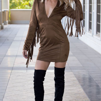 Jacqueline Suede Fringe Dress