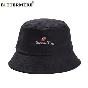 BUTTERMERE Womens Embroidered Bucket Hats Strawberry Casual Cotton Black Fishing Hat Female Beach Summer 2018 Designer Sun Hat