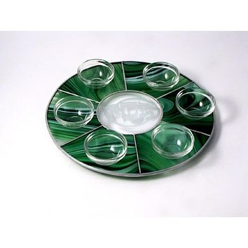 Round Stained Glass Seder Plate
