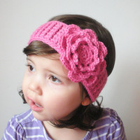 Toddler Girls Crochet Headband in Pink with Large Rose, ready to ship. $12.00