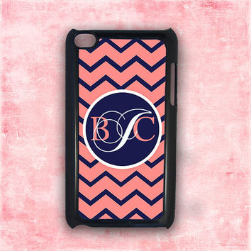 iPod case iTouch - Coral and navy blue chevron- monogram Ipod 4 cover , Ipod 4th generation cover, zebra Ipod cover (9812)