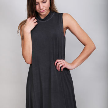 Charcoal Mock-neck Swing Dress