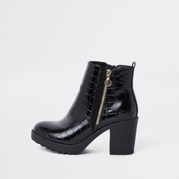 Black chunky croc embossed ankle boots - Boots - Shoes & Boots - women