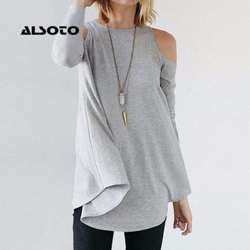Women Tops 2017 Autumn Blusas Ladies Sexy Tunic Off Shoulder Long Sleeve Pullover Casual Loose Blouses Shirts Plus Size