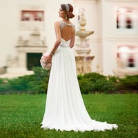 2016 New Bridal Gown V-neck Sleeveless Long Vestido De Novia Pleat Crystal Beaded White Chiffon A-Line Wedding Dresses Casamento