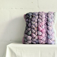 "Pink ""plait"" pillowcase with yellow spots - dyed, decorative, handmade cushions."