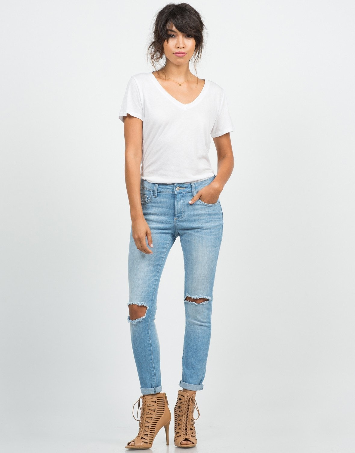 3ee3f1d2840 Crop Knee Cut Out Skinny Jeans from 2020AVE