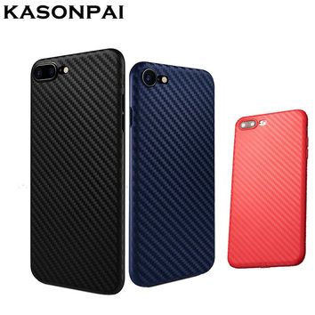 KASONPAI Phone Cases Fashion Carbon Fiber case For iPhone 7 Coque Fundas shell For iphone 6S 7plus Newest Slim Soft Phone Cover