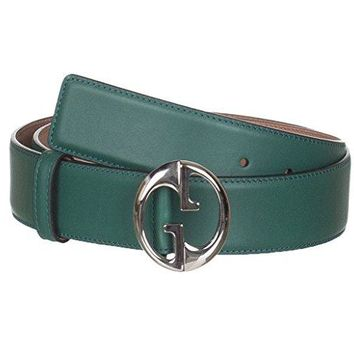 Gucci Women's Green Leather Interlocking GG Buckle Belt
