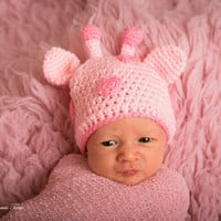 Baby Girl Beanie - Baby Giraffe Hat, Photography prop, Crochet Animal Hat, 0 - 6 months size