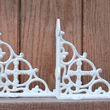 Cross Shelf Brackets, Set of 2, Cast Iron, Shabby Cottage Chic