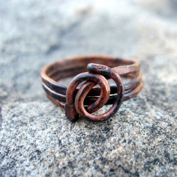 Copper wire ring, wrapped copper ring with a dark heat patina, size 10 1/2 ring, copper jewelry, bohemian ring, copper wire ring