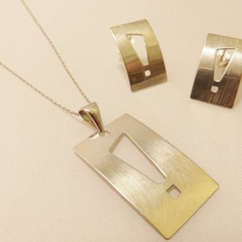 Sterling Silver Modern Style Necklace and Earrings Jewelry Set