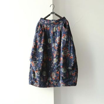 Women New Winter Elastic Pockets Skirts Flower Print Butterfly loose Casual Chinese style Skirts Floral National Style