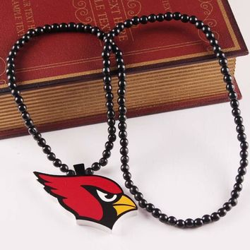 10PCS Football Arizona Cardinals Color Printing Team Team Logo Pendant Necklace White Wood Beads For Men Charm Necklace