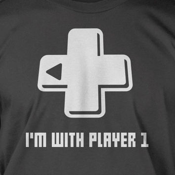 Funny Video Game T-Shirt - I'm With Player 1 or 2 Tee Shirt T Shirt Geek video games Mens Ladies Womens Youth Kids